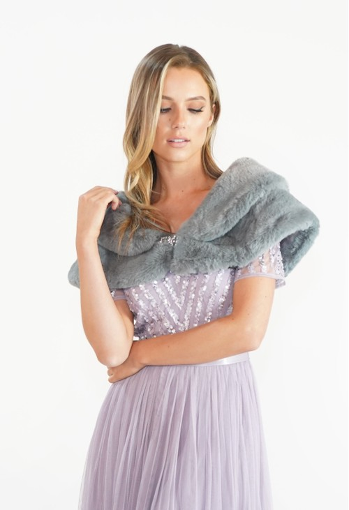 Pamela Scott Grey Faux Fur Wrap