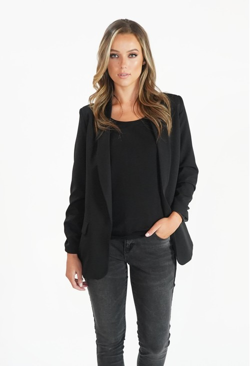 Zapara Black Open Blazer