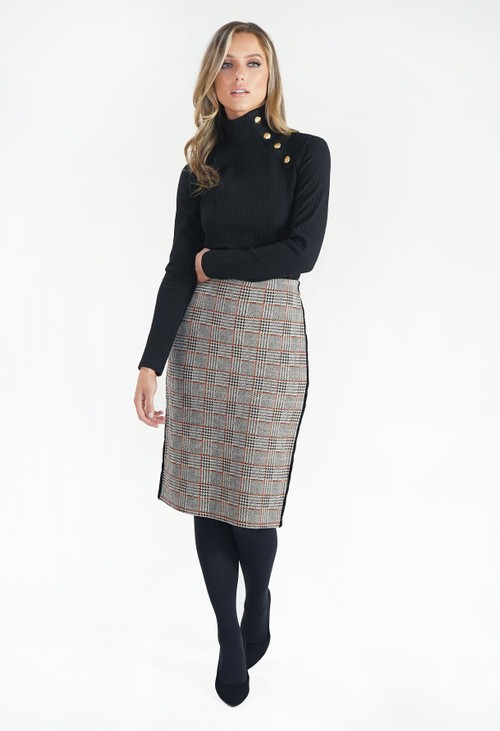 Zapara Beige Checked Pencil Skirt with Side Stripe