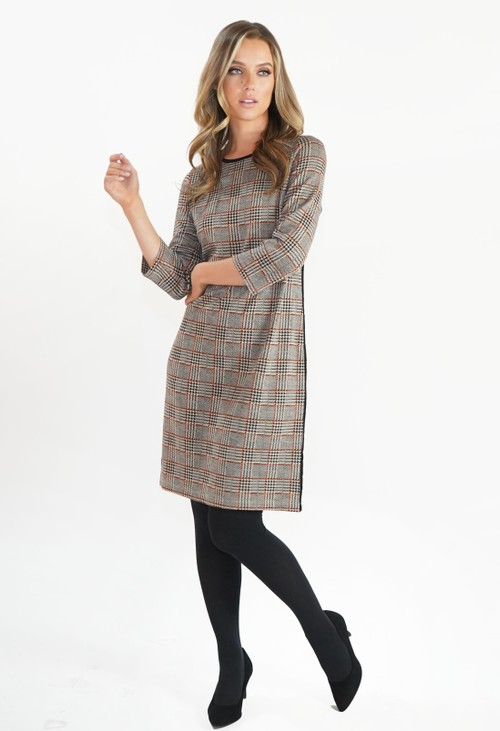 Zapara Beige Checked Dress with Side Stripe