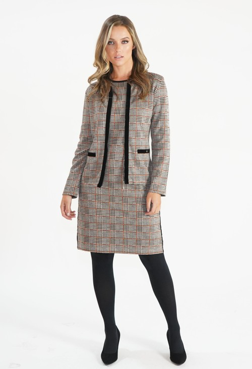 Zapara Beige Checked Jacket with Velvet Zip and Pocket Detail