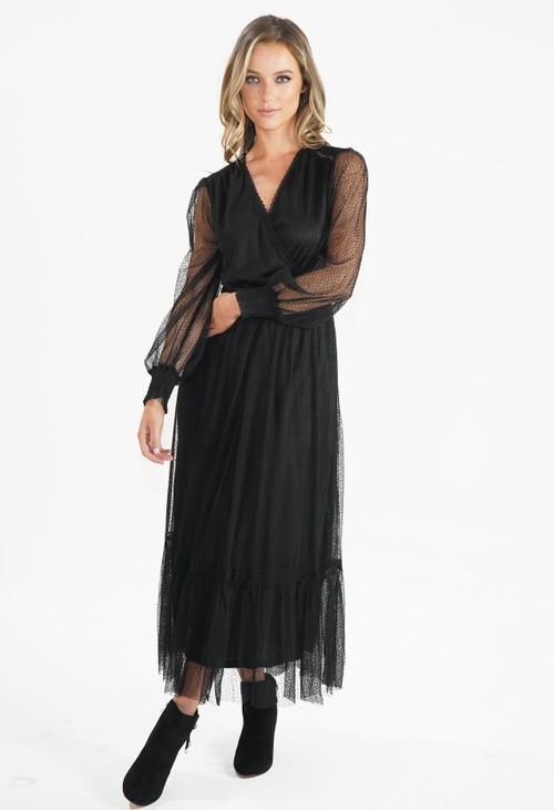 Pamela Scott Black V Neck Mesh Detail Dress