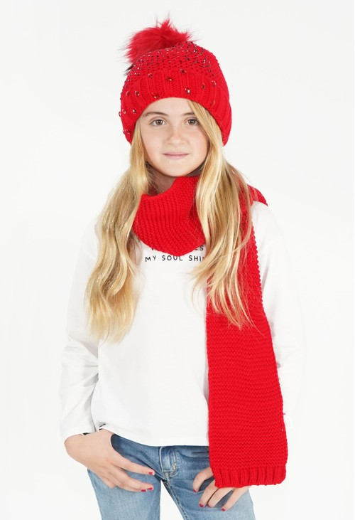 Pulse & Sparkle Kids Red Hat and Scarf Set