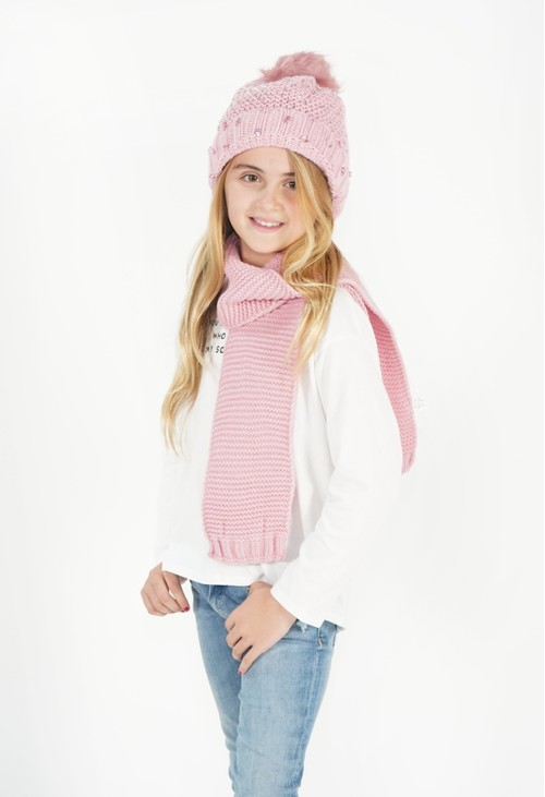 Pulse & Sparkle Kids Pink Hat and Scarf Set