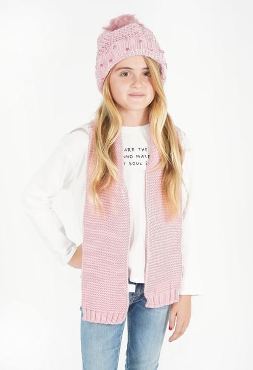Pulse & Sparkle Kids Pink Hat and Scarf Set