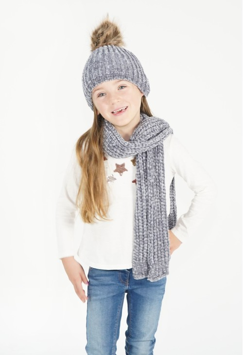 Pulse & Sparkle Kids Grey Hat and Scarf Set