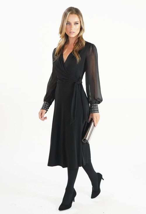 London Times Black Flared Wrap Dress