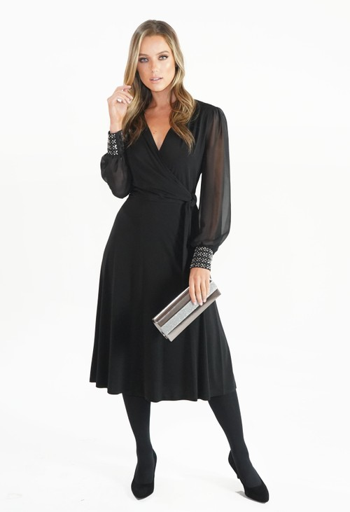 London Times Flared Wrap Dress