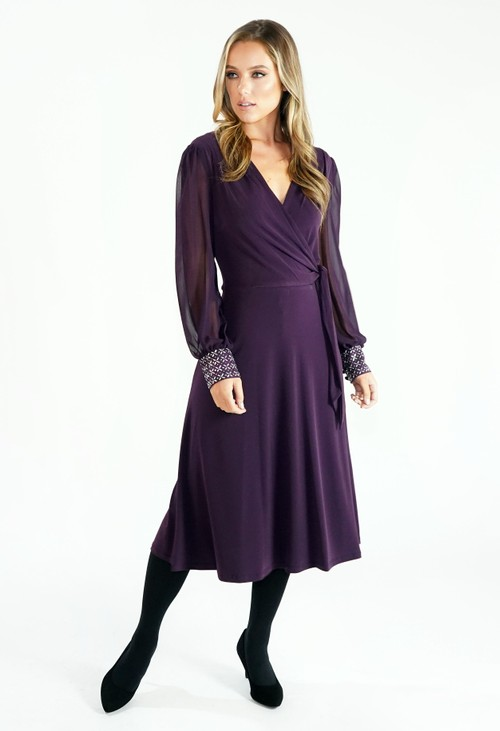London Times Purple Flared Wrap Dress