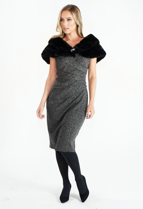 London Times Sparkle Drape Waist Dress
