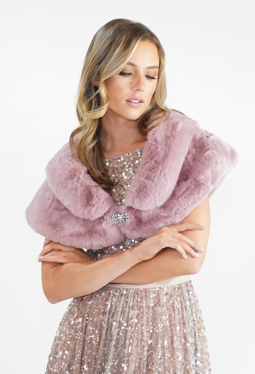Pamela Scott Rose Faux Fur Wrap