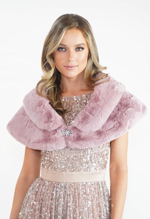 Pamela Scott Rose Faux Fur Wrap