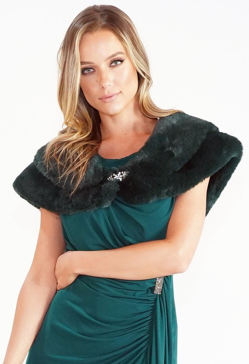 Pamela Scott Green Faux Fur Wrap