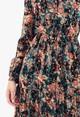 Pamela Scott Green/Orange Floral Dress With Velvet Detail