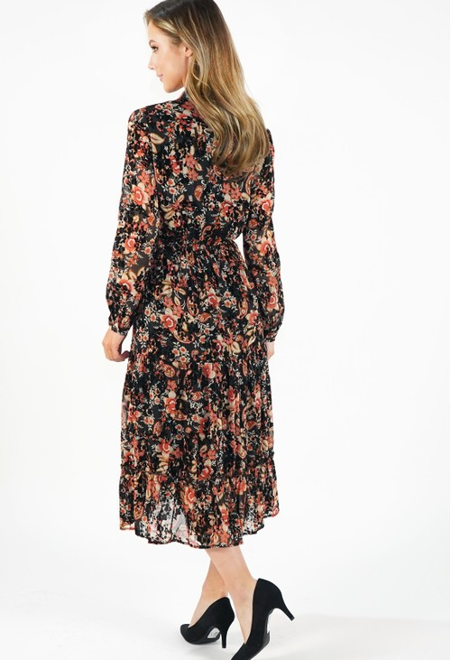Pamela Scott Black/Orange Floral Dress With Velvet Detail
