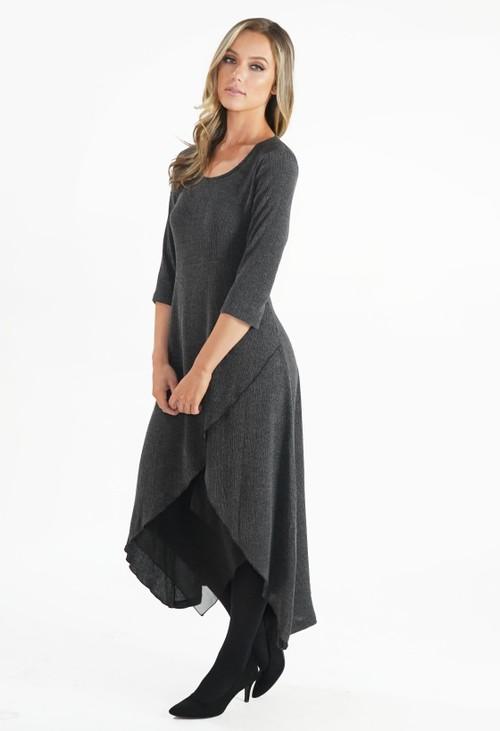 Sophie B Grey Crinkle Dress