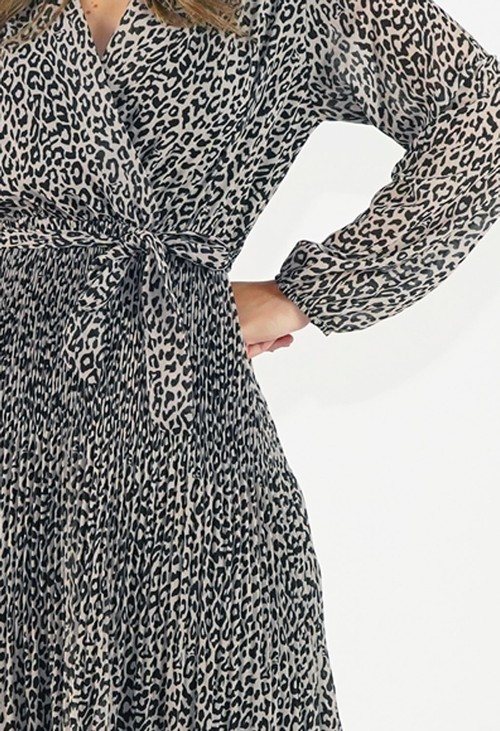Pamela Scott Animal Print Pleated Dress