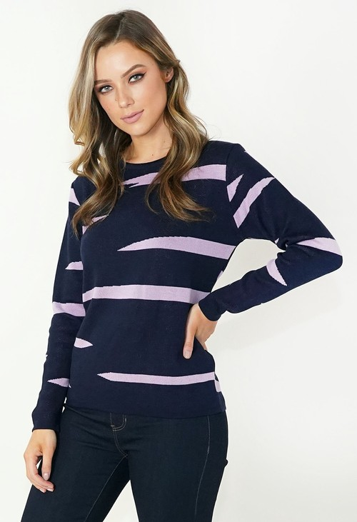Twist Navy and Lilac Print Pullover