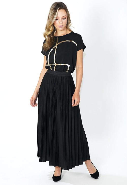 Pamela Scott Black Pleated Skirt