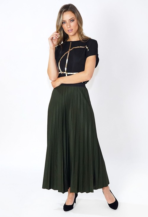 Pamela Scott Dark Green Pleated Skirt