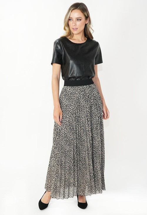 Pamela Scott Leopard Print Pleated Skirt
