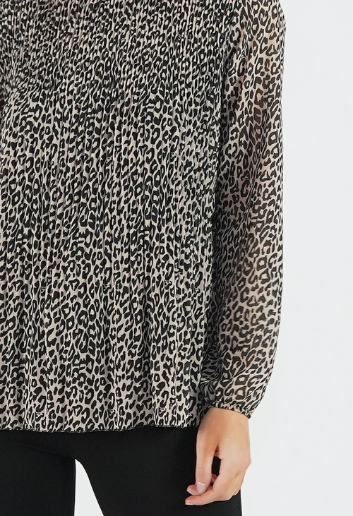 Pamela Scott Animal Print Pleated Top