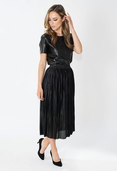 Pamela Scott Black Satin Pleated Skirt