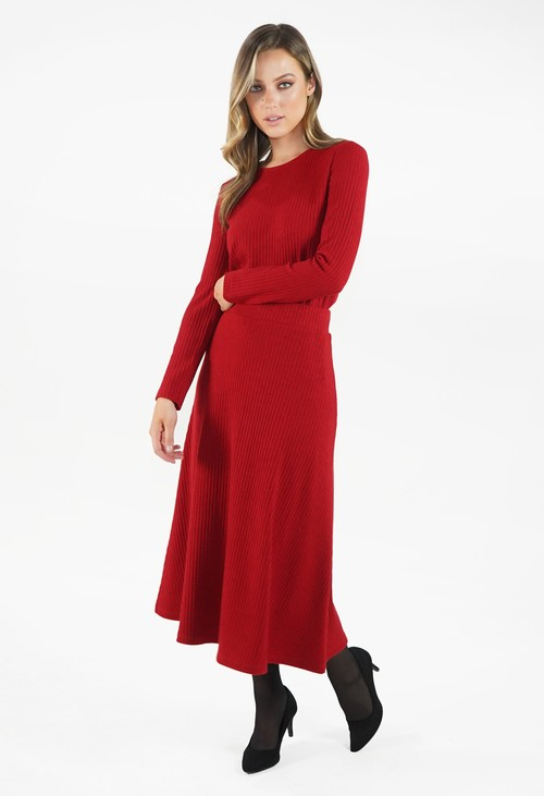 Zapara Rust Ribbed Knit Midi Skirt