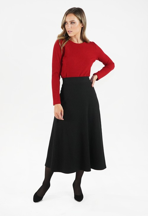 Zapara Black Ribbed Knit Midi Skirt