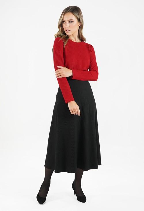 Zapara Black Ribbed Knit Midi Skirt