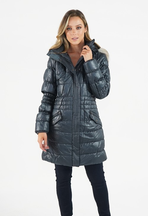 Pamela Scott Blue Grey Padded Coat with Faux Fur Hood