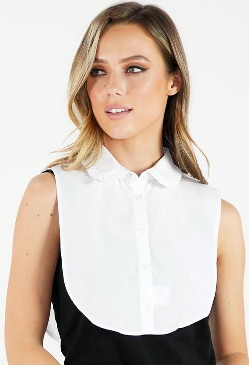 Twist White Pleated Collar Bib