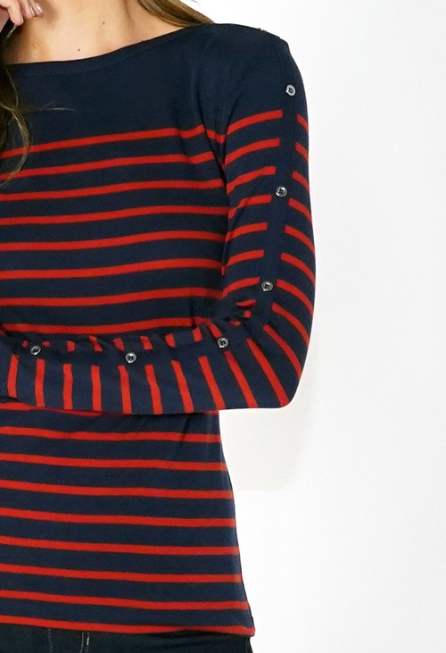 Twist Navy and Red Striped Cotton Top with Button Sleeve Detail