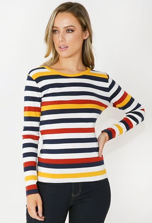 Twist Navy and White Striped Cotton Top