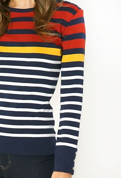 Twist Navy and Rust Striped Cotton Top with Button Shoulder Detail