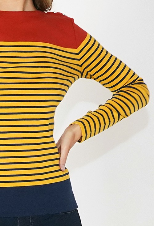 Twist Mustard and Rust Striped Cotton Top with Shoulder Button Detail