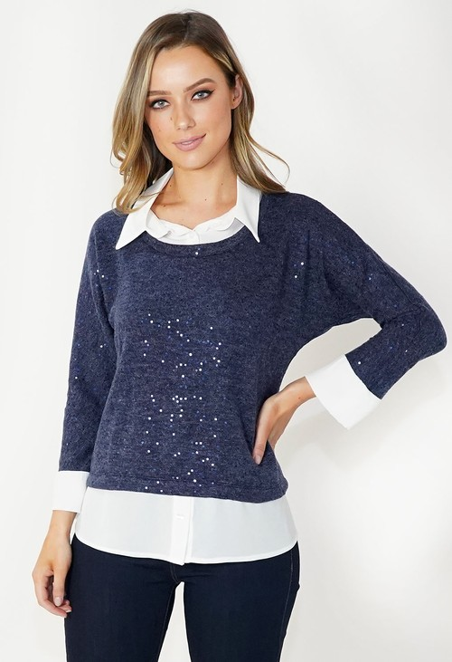 Sophie B Navy 2 in 1 Knit with Metallic Detailing