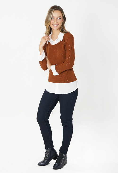 Sophie B Brown 2 in 1 Knit with Metallic Detailing