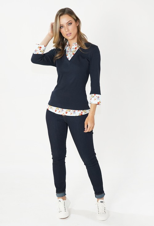 Twist Navy and Floral 2 in 1 Cotton Pullover