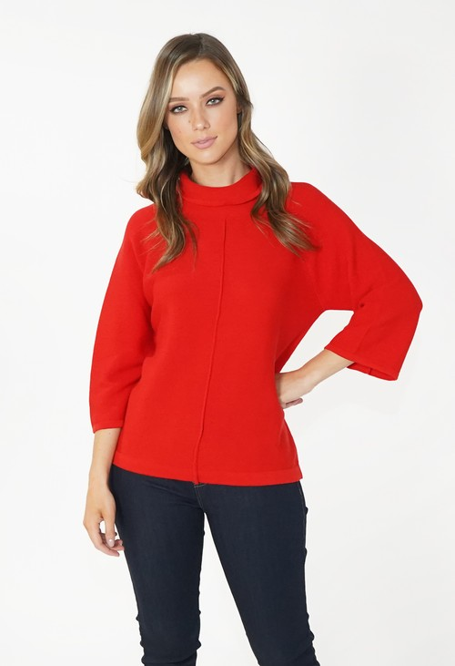 Twist Red Roll Neck Knit
