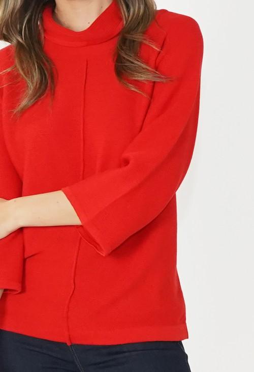 Twist Red Roll Neck Knit