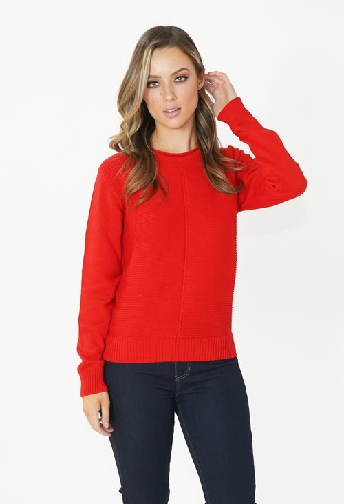 Twist Red Round Neck Knit Jumper
