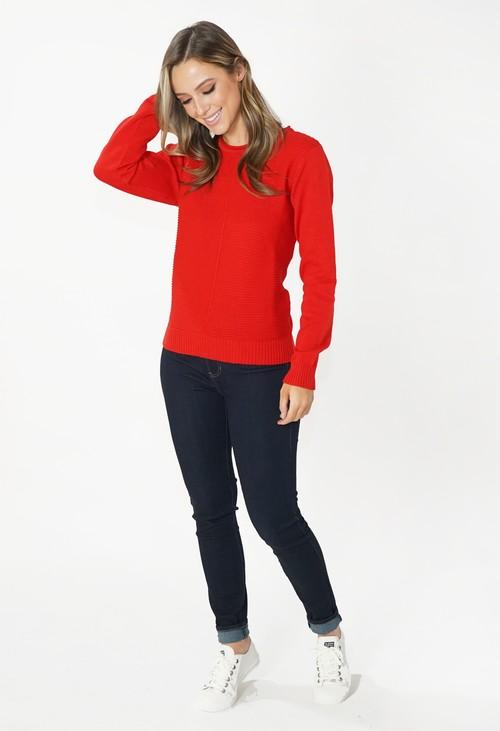 Twist Red Round Neck Knit Jumper