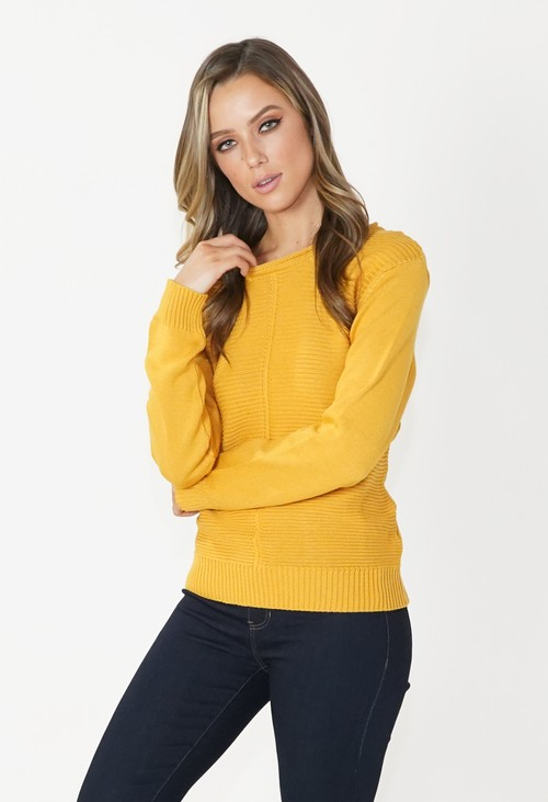 Twist Mustard Round Neck Knit Jumper