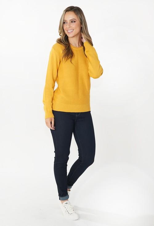 Twist Mustard Round Neck Knit Jumper