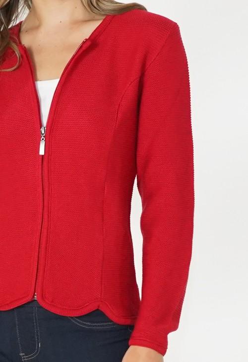 Twist Red Cardigan with Scalloped Hem