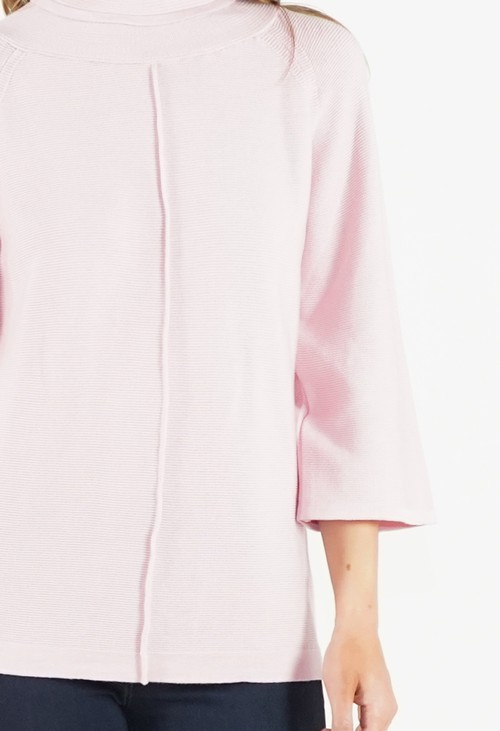 Twist Soft Rose Roll Neck Ribbed Knit