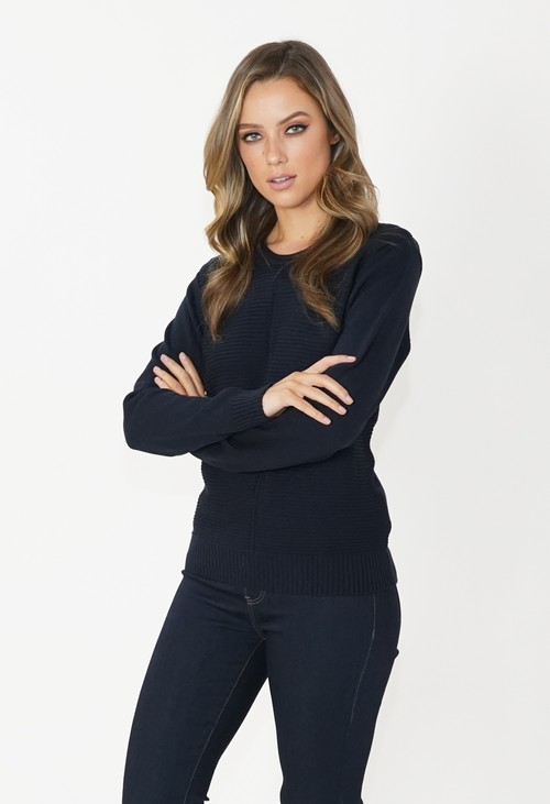 Twist Navy Round Neck Knit Jumper