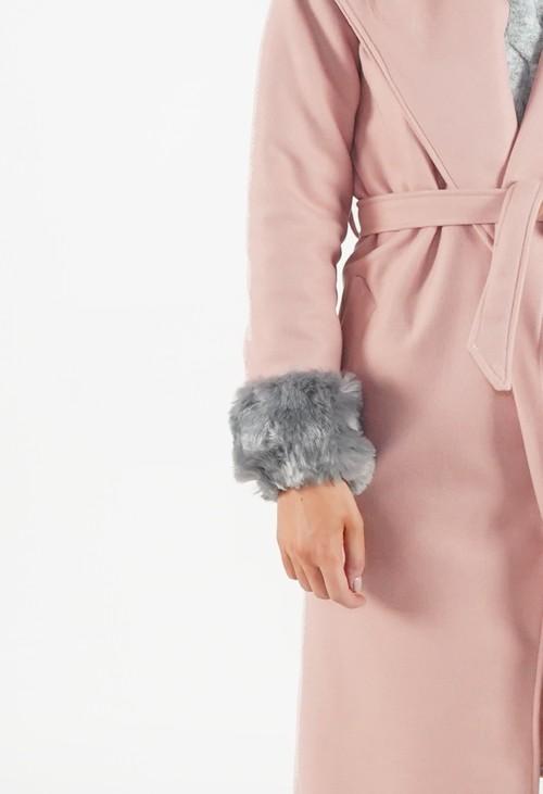 Pamela Scott Light Grey Faux Fur Cuff