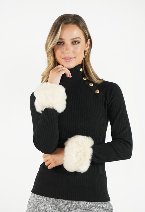 Pamela Scott Off White Faux Fur Cuff